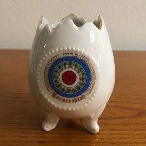 Vintage Horseradish Footed Porcelain Egg.